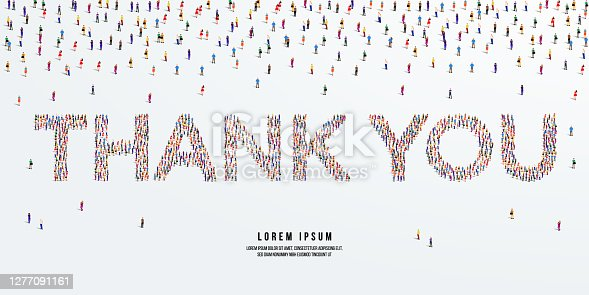 Thank you. Large group of people form to create Thank you. vector illustration.