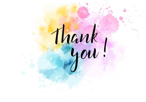 illustrazioni stock, clip art, cartoni animati e icone di tendenza di thank you lettering on watercolored background - huế