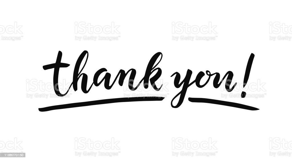Beyaz arka plan üzerine yazı teşekkür ederiz. Elle çizilmiş yazıt - Royalty-free Bilgisayar Grafiği Vector Art