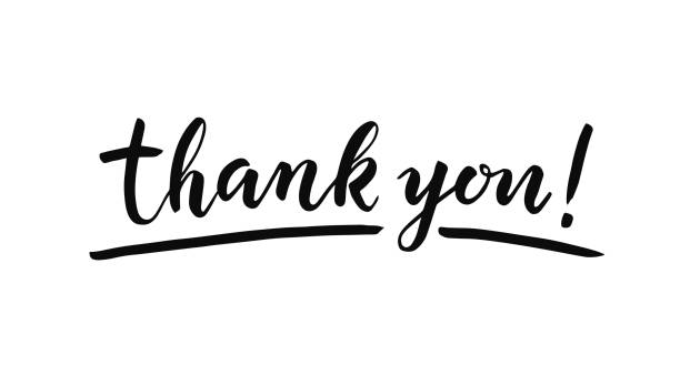 thank you lettering on white background. hand drawn inscription - thank you stock illustrations