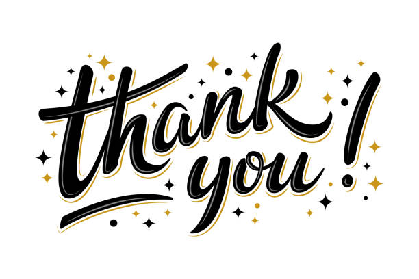 thank you lettering sign with black/gold stars - thank you stock illustrations
