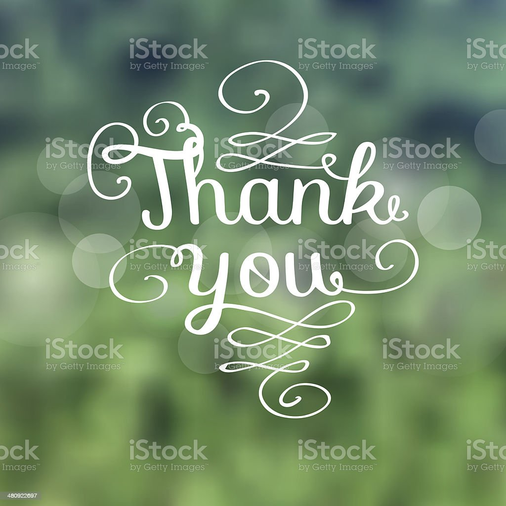 Thank you message made of growing branches vector art illustration