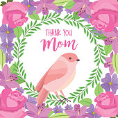 thank you mom card cute bird weath leaves flowers decoration vector illustration
