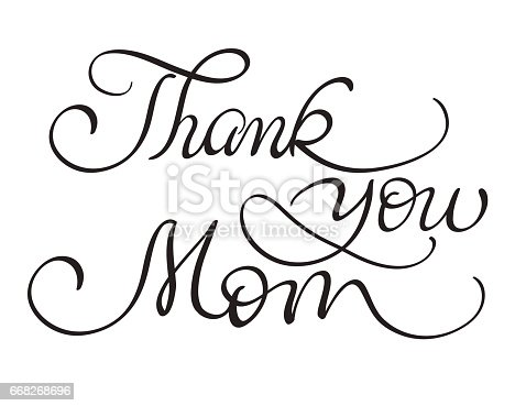 thank you mom letter thank you vector vintage text on white background 12118 | thank you mom vector vintage text on white background calligraphy vector id668268696?s=170667a
