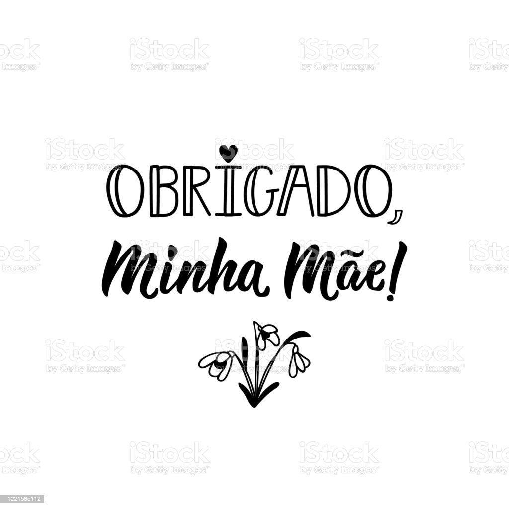 Danke Meine Mutter Auf Portugiesisch Tintenabbildung Mit Handgezeichnetem  Schriftzug Stock Vektor Art und mehr Bilder von Brasilianische Kultur