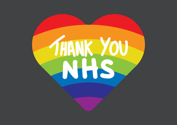 thank you nhs rainbow heart vector - thank you background stock illustrations