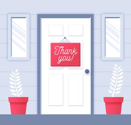 Thank You Note on Door Showing Gratitude