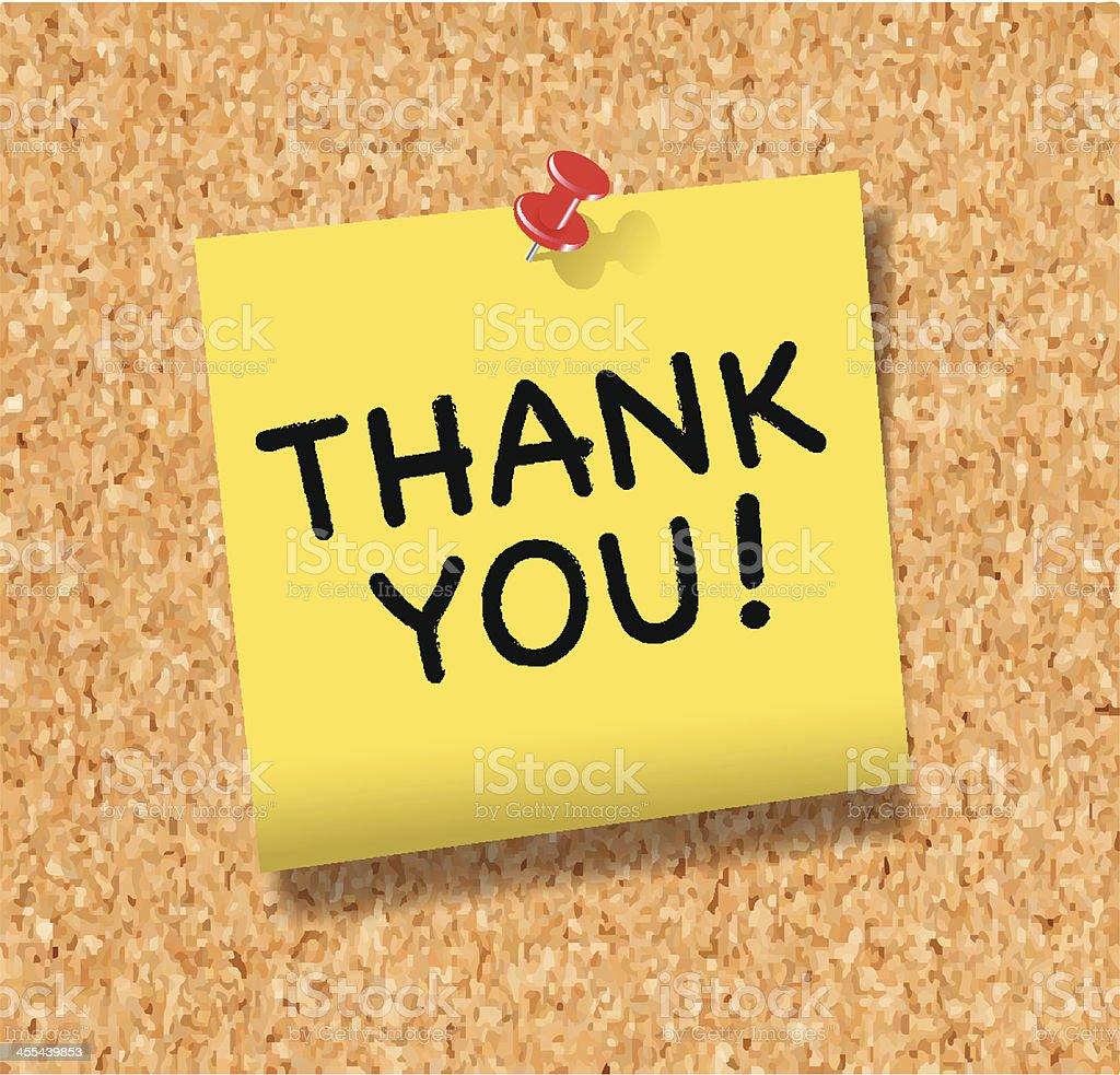 gracias nota con chincheta en panel de corcho ilustracin de gracias nota con chincheta en panel