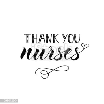 Thank you nurses. Ink illustration. Modern brush calligraphy. Isolated on white background.