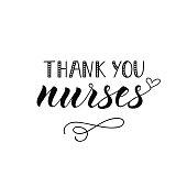 Thank you nurses. Hand drawn lettering background. Ink illustration.