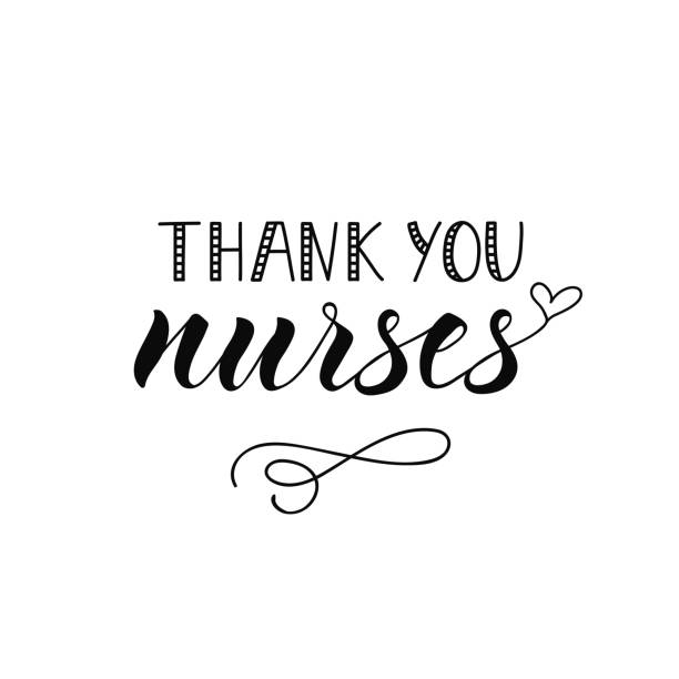 thank you nurses. hand drawn lettering background. ink illustration. - nurse stock illustrations, clip art, cartoons, & icons
