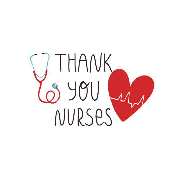 Thank you nurses hand lettering text, heart with cardiogram of heartbeat and stethoscope. Gratitude for saving lives by medical workers, International nurses day greeting concept. Thank you nurses hand lettering text, heart with cardiogram of heartbeat and stethoscope. Gratitude for saving lives by medical workers, International nurses day greeting concept. nurses stock illustrations