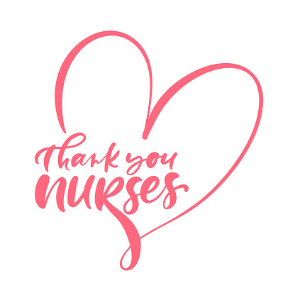 Thank you nurses red lettering vector text and heart on white background. illustration for International Nurses Day. Holiday for doctors