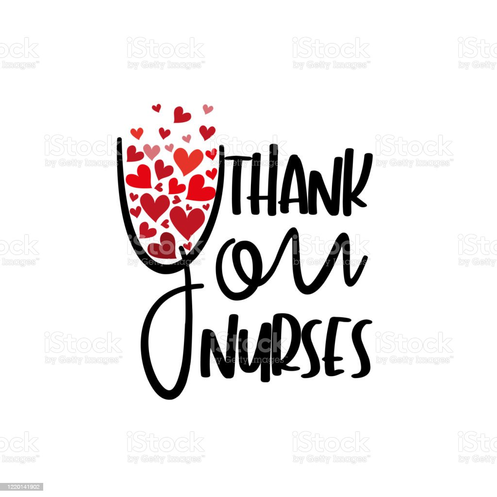 Thank you nurses- text with hearts. - arte vettoriale royalty-free di Accudire