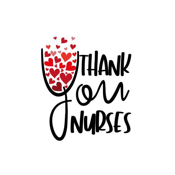 illustrazioni stock, clip art, cartoni animati e icone di tendenza di thank you nurses- text with hearts. - luogo d'interesse nazionale