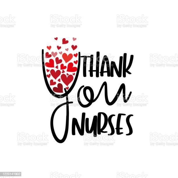 Thank You Nurses Text With Hearts - Immagini vettoriali stock e altre immagini di Accudire