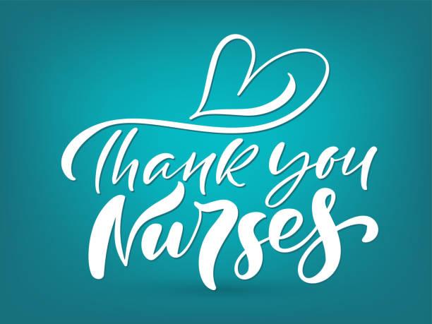感謝護士白字向量文本和心在綠松石背景。國際護士日的插圖。醫生假期 - 國際比賽 幅插畫檔、美工圖案、卡通及圖標