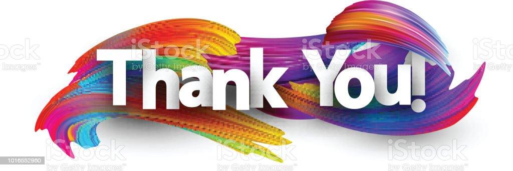 Teşekkür ederim kağıt poster renkli fırça darbeleriyle. - Royalty-free Aydınlık Vector Art