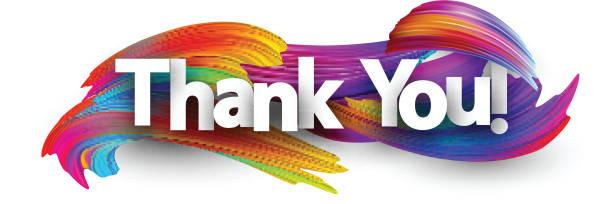 спасибо бумажный плакат с красочными мазки кистью. - thank you stock illustrations
