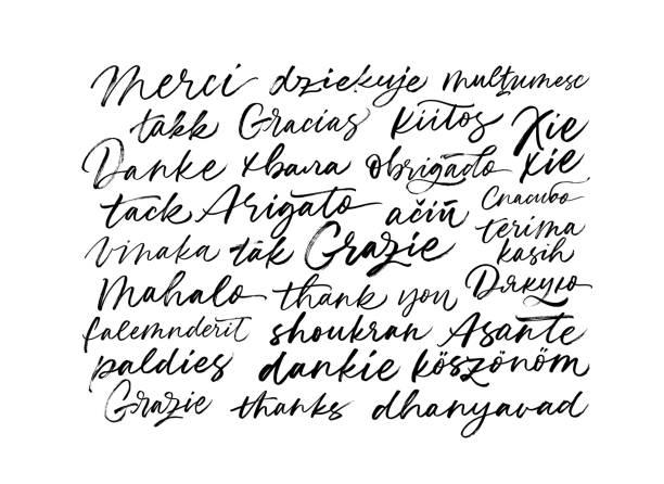 illustrazioni stock, clip art, cartoni animati e icone di tendenza di grazie frasi in molte lingue. grazie frasi moderne calligrafia vettoriale scritta a mano. - lingua