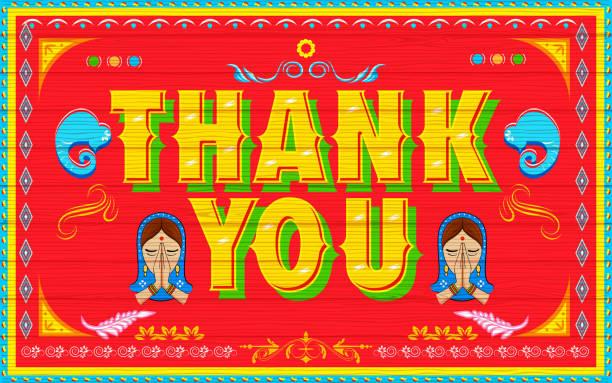 stockillustraties, clipart, cartoons en iconen met thank you poster - indiase cultuur