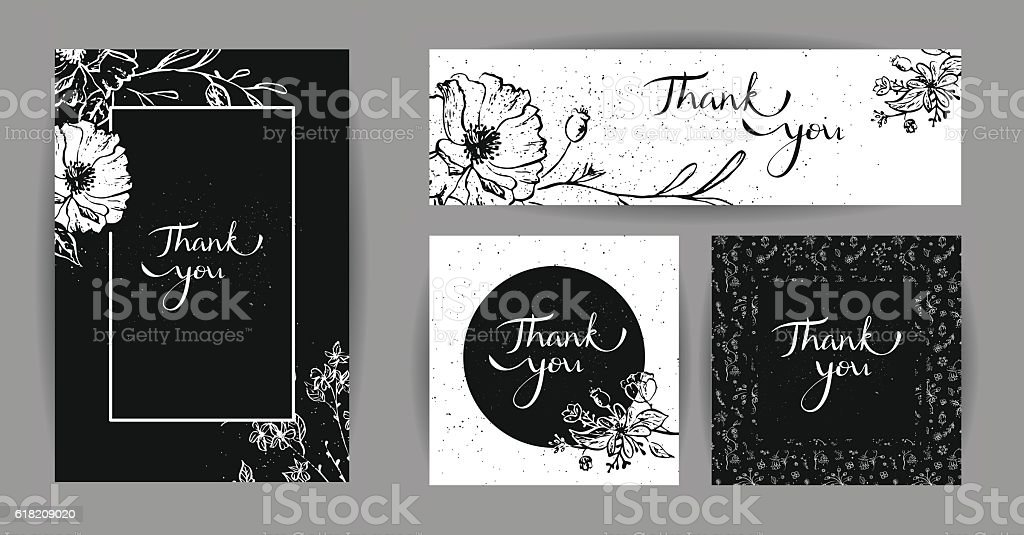 thank you posters with black and white flowers stock vector art