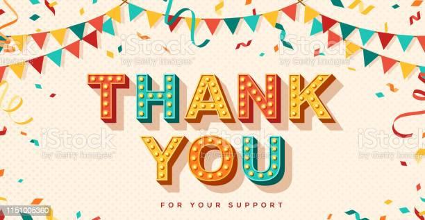 Спасибо Ретрокарты — стоковая векторная графика и другие изображения на тему Thank You - английское словосочетание