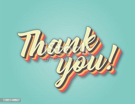istock Thank You. Retro style lettering stock illustration. Invitation or greeting card stock illustration 1283148807