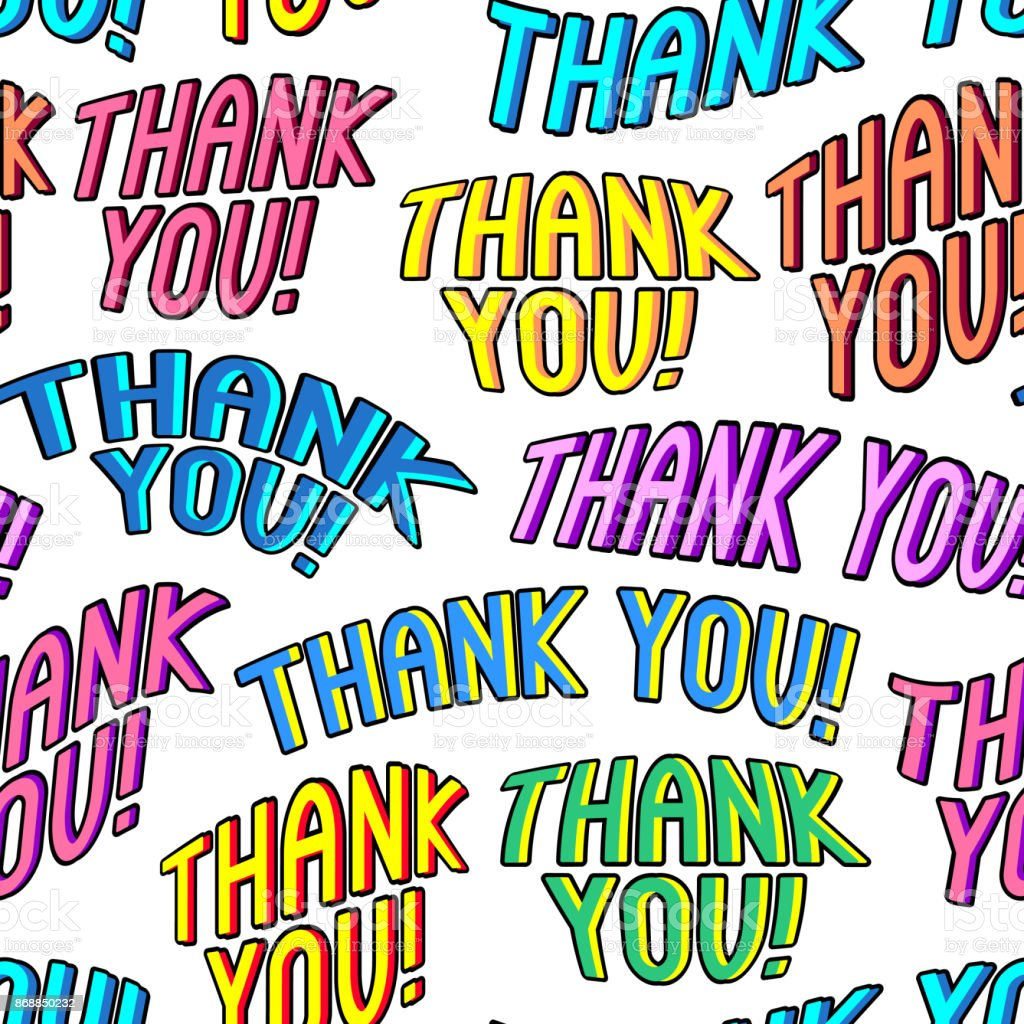 Thank You Seamless Pattern For Cards Wrapping Paper And Other