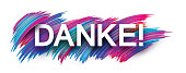 Thank you sign with color brush strokes on white background.
