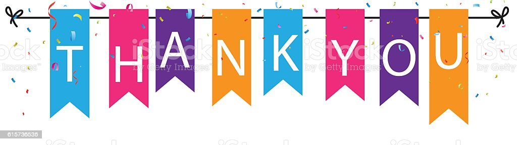 Thank you sign with colorful bunting flags and confetti background vector art illustration