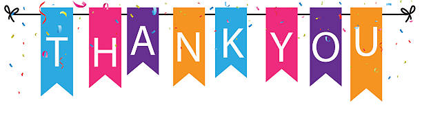 thank you sign with colorful bunting flags and confetti background - vielen dank stock-grafiken, -clipart, -cartoons und -symbole