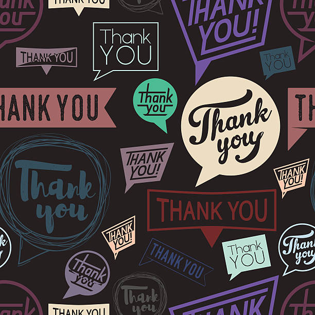 thank you speech in different style. seamless pattern. trend color - thank you background 幅插畫檔、美工圖案、卡通及圖標