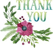 Thank you tag and watercolor floral wreath