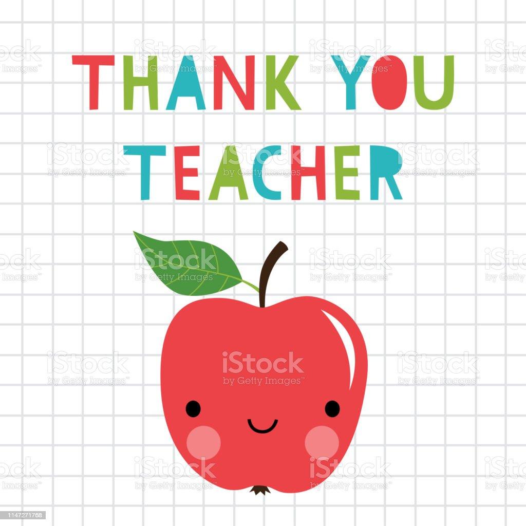Thank you Teacher greeting card with a cartoon apple
