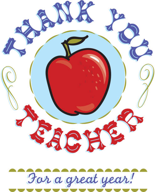 thank you teacher text design with red apple - thank you teacher stock illustrations, clip art, cartoons, & icons