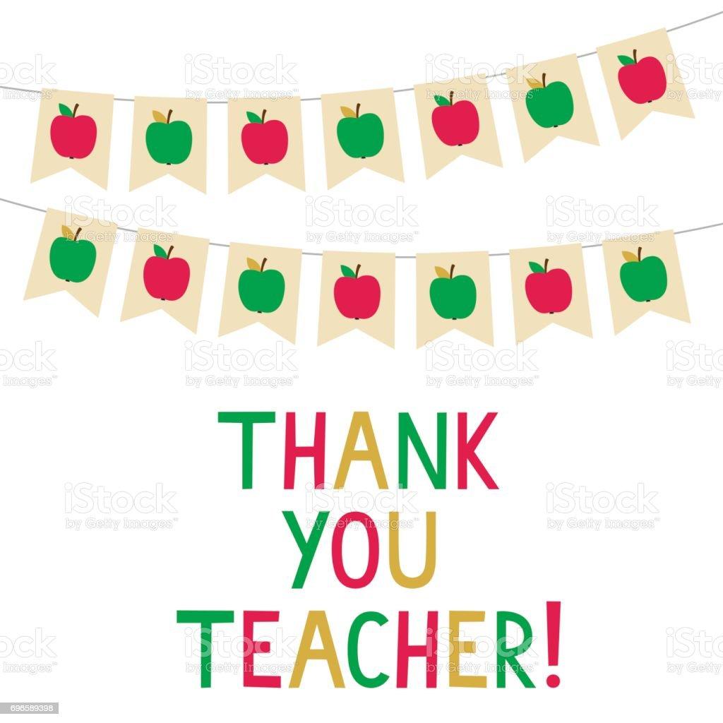 Thank you teacher vector card bunting banners with apples stock thank you teacher vector card bunting banners with apples royalty free thank you teacher voltagebd Choice Image