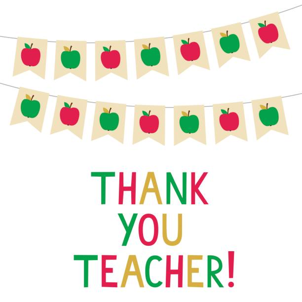 Thank You Teacher vector card, bunting banners with apples vector art illustration