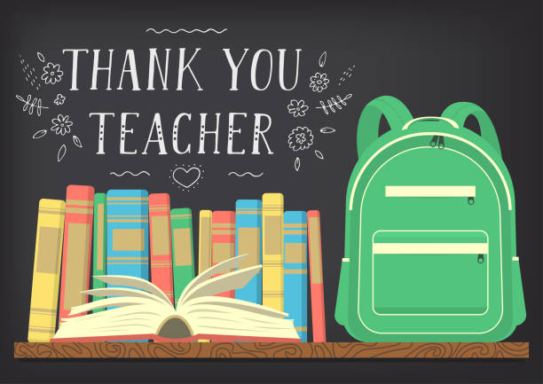Thank You Teacher. Thank You Teacher. Green school backpack on book shelf with blackboard background and lettering. Vector illustration thank you teacher stock illustrations