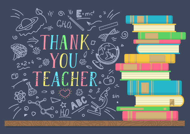 Thank You Teacher. Thank You Teacher. Stack of books with school doodles and lettering on dark background. Vector illustration. thank you teacher stock illustrations