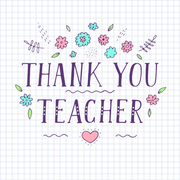 Thank you teacher. Thank you teacher. Paper in a cell with lettering. Vector illustration. thank you teacher stock illustrations