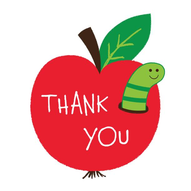 Thank you Teachers Day card with an apple and a worm vector art illustration