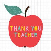 Thank you Teacher's Day vector card with an apple
