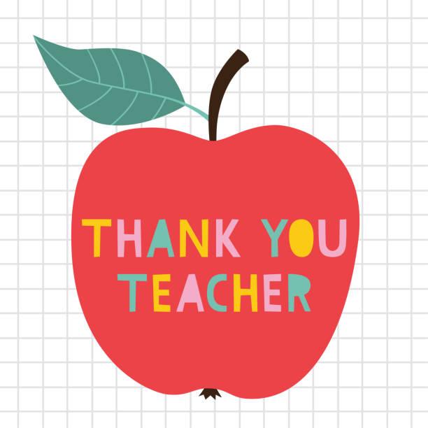 ilustrações, clipart, desenhos animados e ícones de obrigado cartão do vetor do dia do professor com uma maçã - professor
