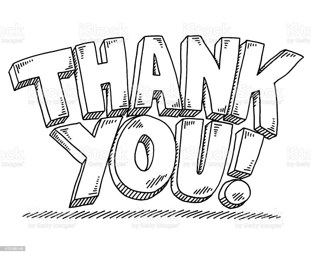 thank you text drawing stock vector art more images of 2015