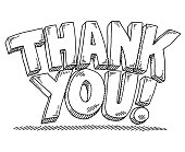 Hand-drawn vector drawing of a Thank You! 3D Text. Black-and-White sketch on a transparent background (.eps-file). Included files are EPS (v10) and Hi-Res JPG.
