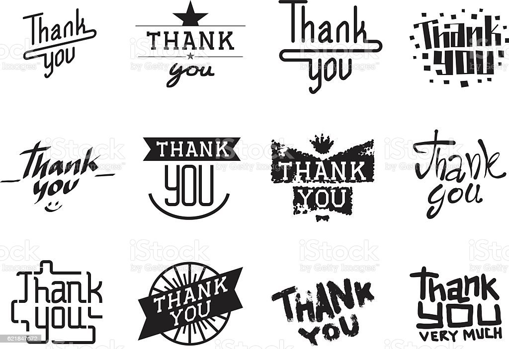 Thank You Text Lettering Vector Illustration Royalty Free Stock