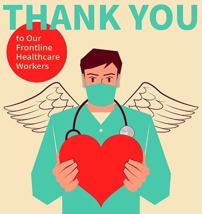 Thank you to all of the healthcare workers (heroes); Handsome young male nurse with a face mask and stethoscope is holding a love heart like an angel