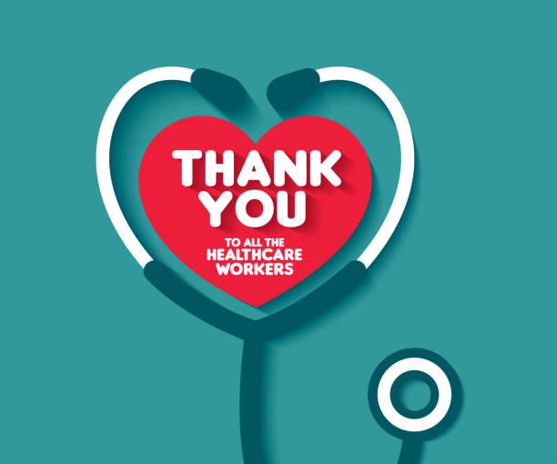 illustrations, cliparts, dessins animés et icônes de merci à tous les travailleurs de la santé. merci médecins et infirmières. merci les héros. - medecin covid