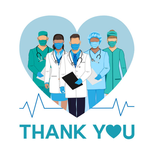 ilustrações, clipart, desenhos animados e ícones de obrigado aos médicos e enfermeiras. - enfermeira